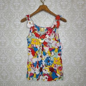 Anthropologie Moth Colorful Floral Tank